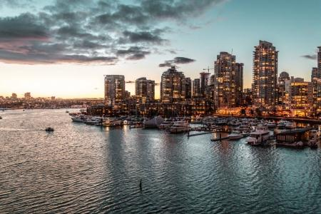 Winter Sunset at False Creek in Vancouver, BC, Canada