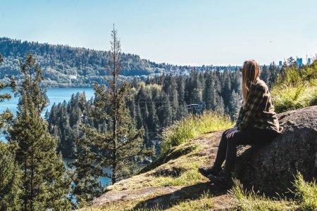 Girl at Quarry Rock at North Vancouver, BC, Canada