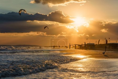Beautiful sunset on a sandy beach shoreline seascape scenery