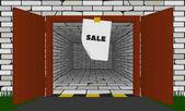 brick garage with open metal gates