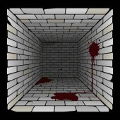 brick box in perspective 3d room with spots and puddles of blood on the wall and on the floor