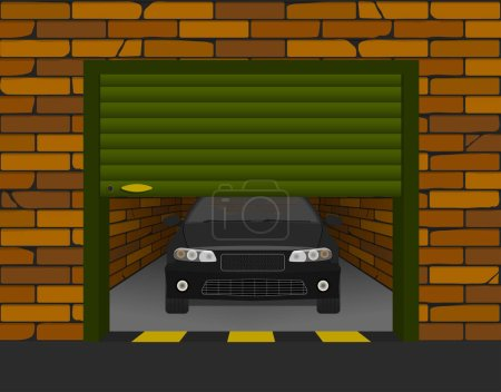 brick garage with sectional doors open in perspective with the car inside