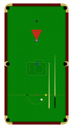 Snooker table top view flat