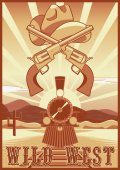 Wild west vintage card or poster with desert landscape train guns and hat