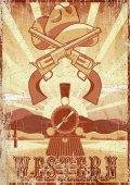 Western movie grunge vintage card or poster with desert landscape train guns and hat