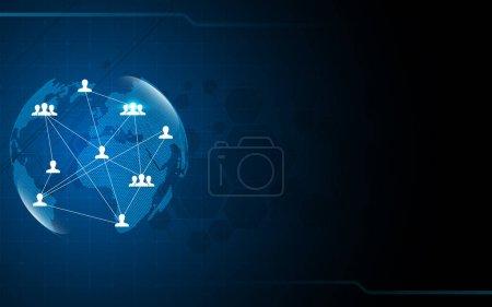 Illustration pour Abstrait réseau mondial, concept de connexion - image libre de droit