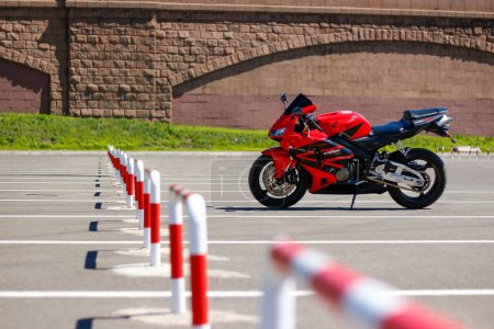 Photo for KRASNOYARSK, RUSSIA - MAY 27, 2017: Red and black sportbike Honda CBR 600 RR 2005 PC37. - Royalty Free Image