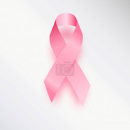 Realistic pink ribbon, breast cancer awareness symbol, isolated on white. illustration, .