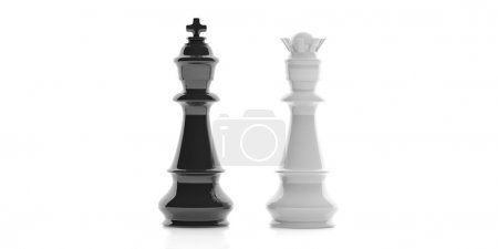 3d rendering king and queen on white background