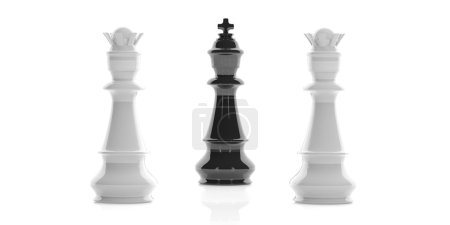 3d rendering one chess king and two queens on white background