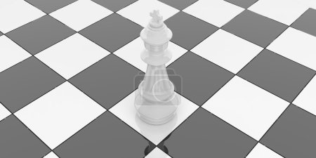 3d rendering chess king on chessboard