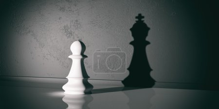 3d rendering chess pawn and king shadow