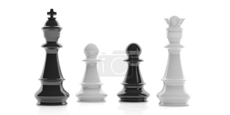 3d rendering chess king, queen and pawns on white background