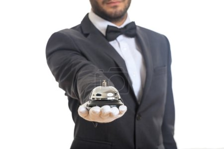 butler service bel in einer behandschuhten