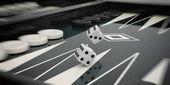 Black and white backgammon board. 3d illustration