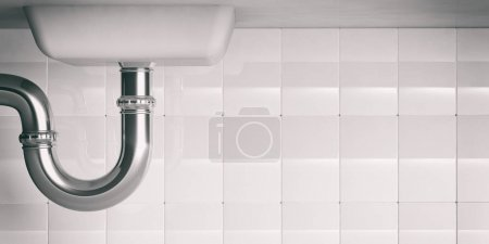 Water pipes under sink. 3d illustartion