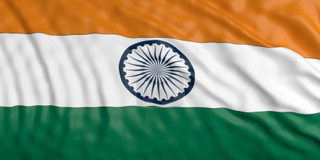 Waiving India flag. 3d illustration