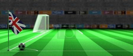 UK flag on a soccer field. 3d illustration