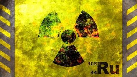 Ruthenium 106 Radioactive isotope, yellow background. 3d illustration