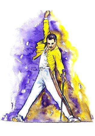 Photo pour Illustration aquarelle de dessinés à la main, Freddie Mercury sur scène - image libre de droit