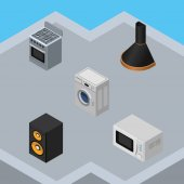 Isometric Device Set Of Air Extractor Music Box Microwave And Other Vector Objects Also Includes Microwave Machine Box Elements
