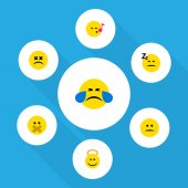 Flat Icon Expression Set Of Asleep Hush Displeased And Other Vector Objects Also Includes Cheerful Angel Hush Elements
