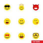 Flat Icon Face Set Of Wonder Pouting Pleasant And Other Vector Objects Also Includes Joy Eyeglasses Angry Elements