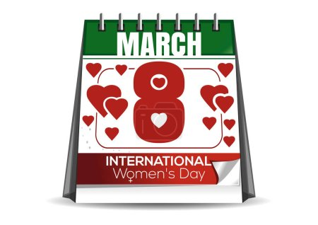 Desktop calendar with the date of March 8. International Womens Day