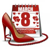8 March card Calendar with the date of March 8 womens shoes red beads