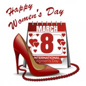 Calendar with the date of March 8 womens shoes red beads Womens Day design