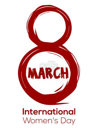 Creative red color design element for Womens Day. 8 March. International Womens Day