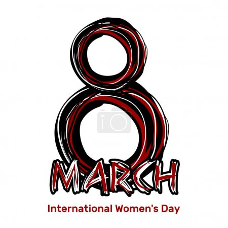 March 8. Hand drawn scribble lettering. International Womens Day