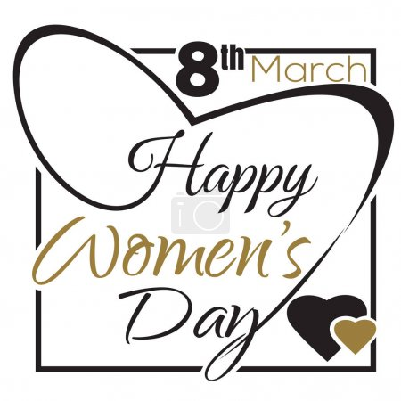 International Womens Day. 8 th March. Typographic design. Happy Womens Day lettering card