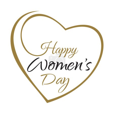 Happy Women's Day. Hand lettering on the background framework of hearts