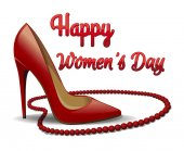 Red shoes and beads isolated on white background Happy Women's Day 8 March card