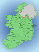 Vector map of Ireland Republic of Ireland Map of Ireland with the division into counties