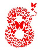 Number eight consisting of flying butterflies March 8 Design element for celebration of the International Womens Day