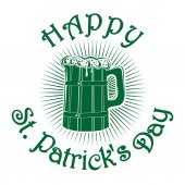 Wooden mug with beer Happy St Patricks Day