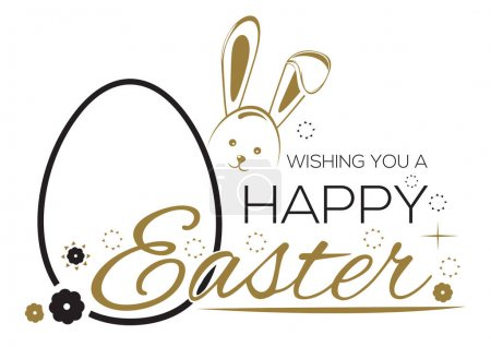 Illustration for Greeting inscription with the Easter bunny and Easter eggs. Wishing You a Happy Easter. Easter holiday handwritten lettering card. Vector illustration - Royalty Free Image