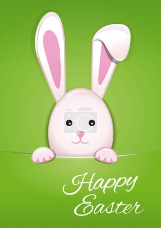 Cute Easter bunny on spring green background. Happy Easter
