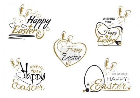 Illustration for Happy Easter. Set greeting inscription with the Easter bunny and Easter eggs. Easter art, hand lettering, text. Vector illustration - Royalty Free Image
