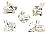 Set Easter lettering Easter bunny and Easter eggs