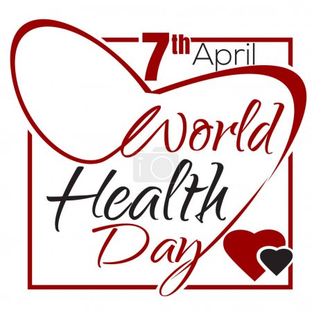 World Health Day. 7 April. Health Day lettering card