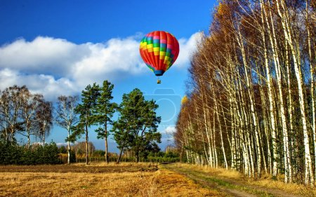 Flying a balloon over the spring woods.