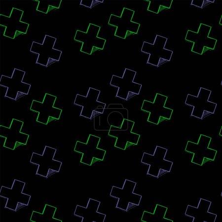 Croquis croisé violet et vert néon sur fond noir. Modèle sans couture .