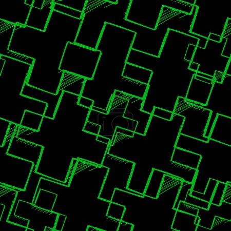 Croquis croisé vert néon sur fond noir. Modèle abstrait sans couture .