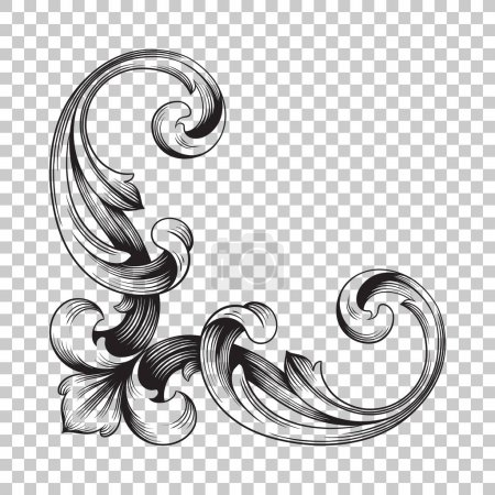Illustration for Isolate vintage baroque ornament retro pattern antique style acanthus. Decorative design element filigree calligraphy vector. You can use for wedding decoration of greeting card and laser cutting. - Royalty Free Image