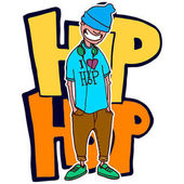 Teen rapper stands on the background is on the background of graffiti Vector isolated image Hand made style