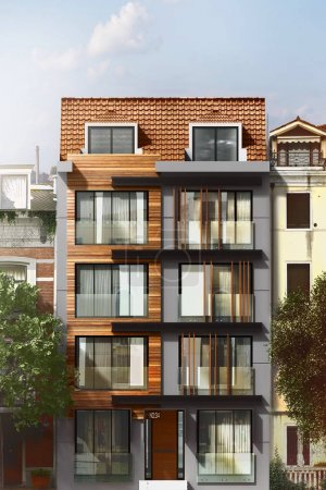 Photo pour Rendu 3D de bâtiment façade extérieure,. - image libre de droit