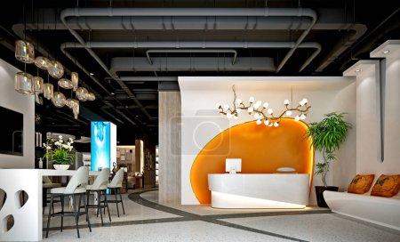 3d render of  office reception